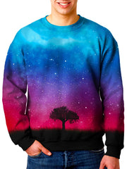 Model wearing Gratefully Dyed Apparel nature galaxy unisex sweater.