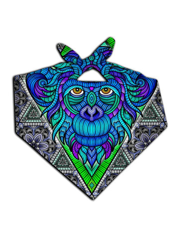 All over print blue, gray & green geometric monkey bandana by GratefullyDyed Apparel tied neck scarf view.