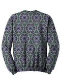 Back view of psychedelic sacred geometry animal pullover sweat shirt.