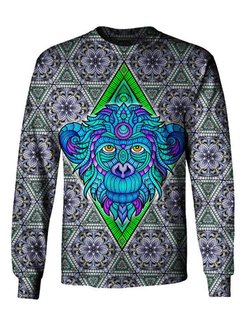 Front view of GratefullyDyed Apparel blue, green & gray sacred geometry monkey unisex long sleeve.