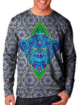 Model wearing Gratefully Dyed Apparel sacred geometry monkey unisex long sleeve front view.