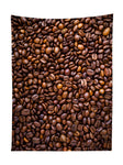 Vertical hanging view of all over print brown & black coffee bean tapestry by GratefullyDyed Apparel.