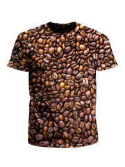 Men's brown & black coffee bean unisex t-shirt front view.