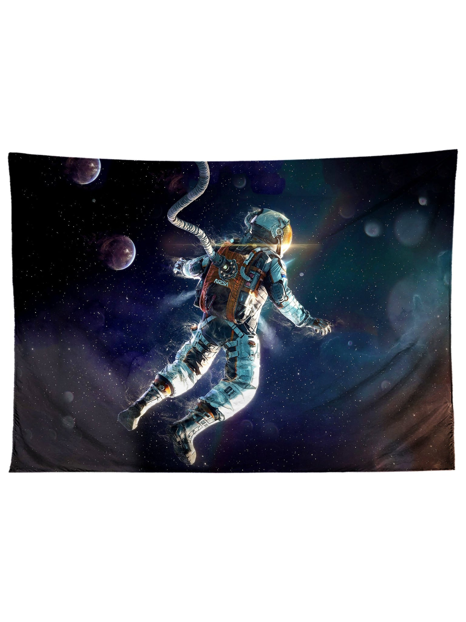 Horizontal hanging view of all over print black & white astronaut galaxy tapestry by GratefullyDyed Apparel.