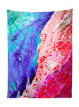 Vertical hanging view of all over print blue & red marble painting tapestry by GratefullyDyed Apparel.