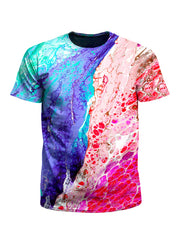 Men's blue & red paint marbling unisex t-shirt front view.