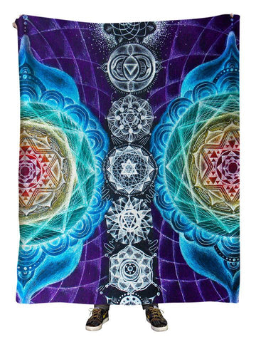 Hanging view of all over print rainbow chakra sacred geometry blanket by GratefullyDyed Apparel.