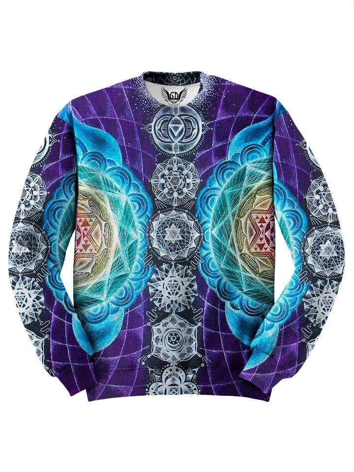 All over print rainbow chakra sacred geometry unisex sweater by GratefullyDyed Apparel front view.