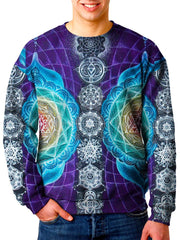 Model wearing Gratefully Dyed Apparel rainbow chakra sacred geometry unisex sweater.