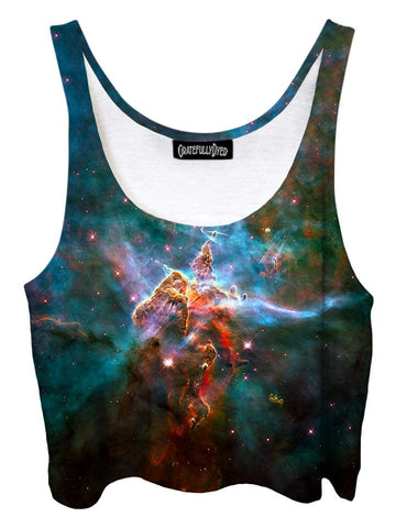 Trippy front view of GratefullyDyed Apparel blue & rainbow nebula galaxy crop top.