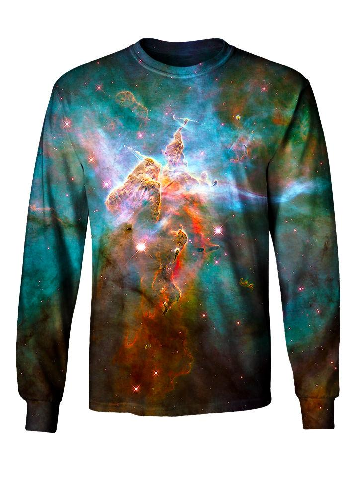 Gratefully Dyed Apparel rainbow nebula galaxy unisex long sleeve front view.