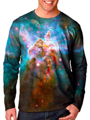 Front view of model wearing Gratefully Dyed Apparel rainbow nebula galaxy unisex long sleeve.