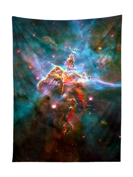 Vertical hanging view of all over print rainbow nebula galaxy tapestry by GratefullyDyed Apparel.