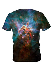 Back view of all over print psychedelic space t shirt by Gratefully Dyed Apparel.