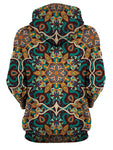 Rear of women's all over print teal & orange psychedelic mandala hoody.