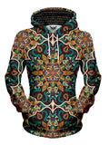 Women's front view of trippy mandala pullover hoodie.