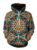 Men's teal & orange retro mandala pullover hoodie front view.