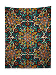 Vertical hanging view of all over print teal & orange mandala tapestry by GratefullyDyed Apparel.