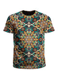Men's teal & orange mandala unisex t-shirt front view.