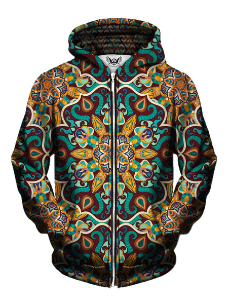 Men's orange & teal retro mandala zip-up hoodie front view.