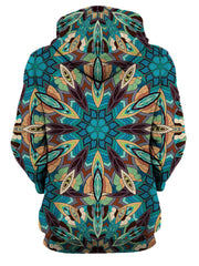 Rear of women's all over print blue, green, orange & purple psychedelic mandala hoody.
