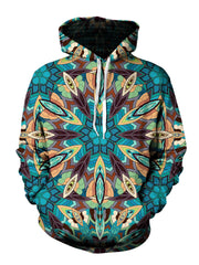 Men's blue, green, orange & purple retro tribal mandala pullover hoodie front view.