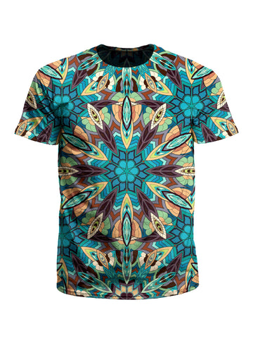 Men's blue, green & orange mandala unisex t-shirt front view.