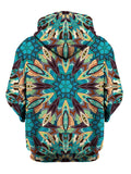 Rear of psychedelic blue, green, purple & orange tribal mandala zip-up hoody.
