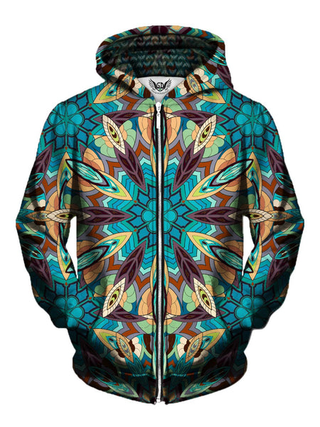 Men's blue, green, purple & orange tribal mandala zip-up hoodie front view.