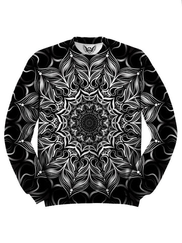 Black And White Trippy Mandala Sweater Front View