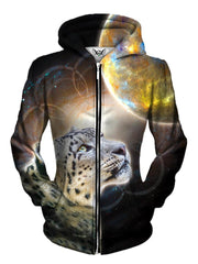 Beautiful Vivid Brown Space Leopard Zip Up