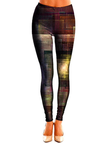Brown and gold square artwork printed leggings front view