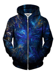 Deep Blue Trippy Zip Up Hoodie Front View