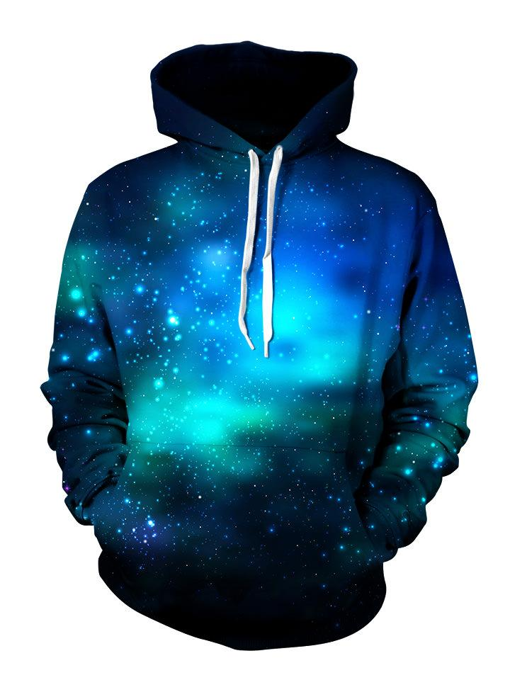 Deep Blue Space Pullover Hoodie With White Strings Front View