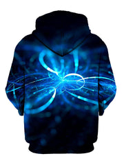Blue swirls on black pullover hoodie back view