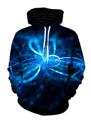 Blue swirls on black pullover hoodie with white strings, front view