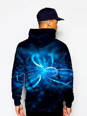 Model in black with blue swirls pullover hoodie back view