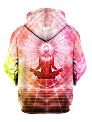 Pink enlightened being meditating pullover hoodie back view