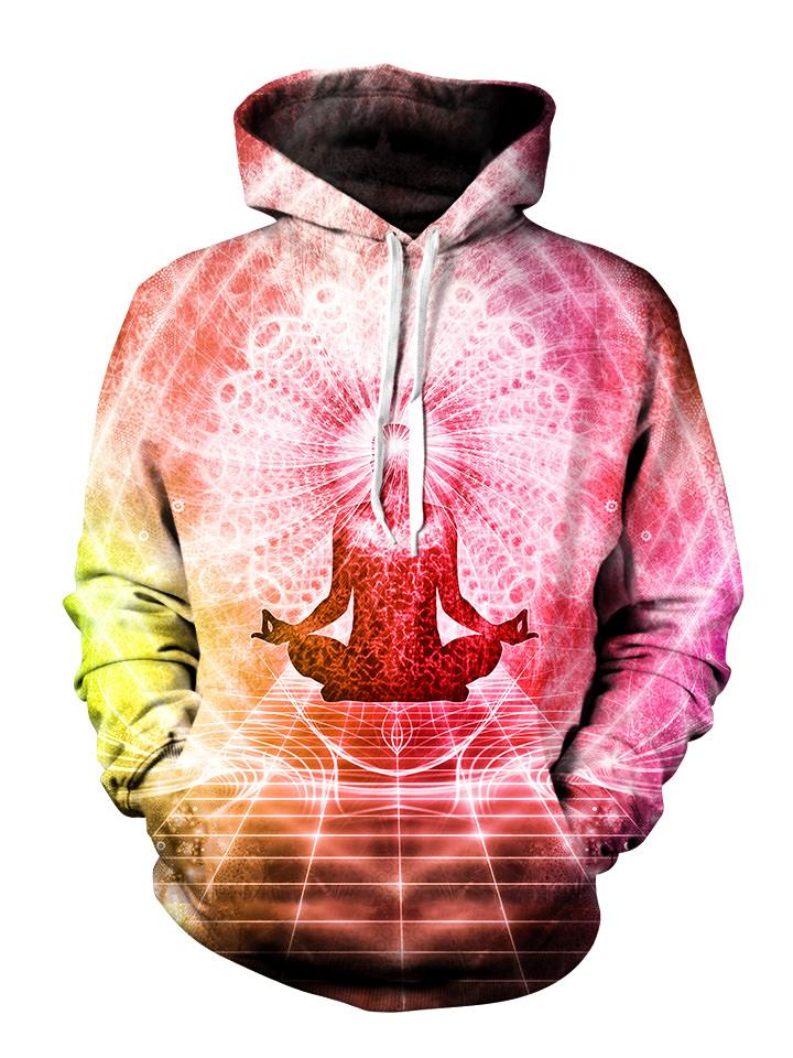 Pink and bright white enlightened being meditating pullover hoodie front view