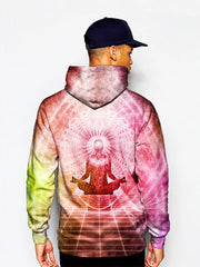 Model in pink enlightened being meditating pullover hoodie