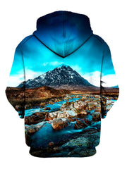 Blue sky, mountain and flowing river all over print pullover hoodie back view