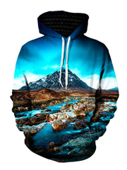 Blue sky, mountain and flowing river all over print pullover hoodie with white strings, front view