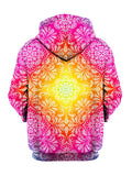 Colorful pink and yellow flower pullover hoodie back view