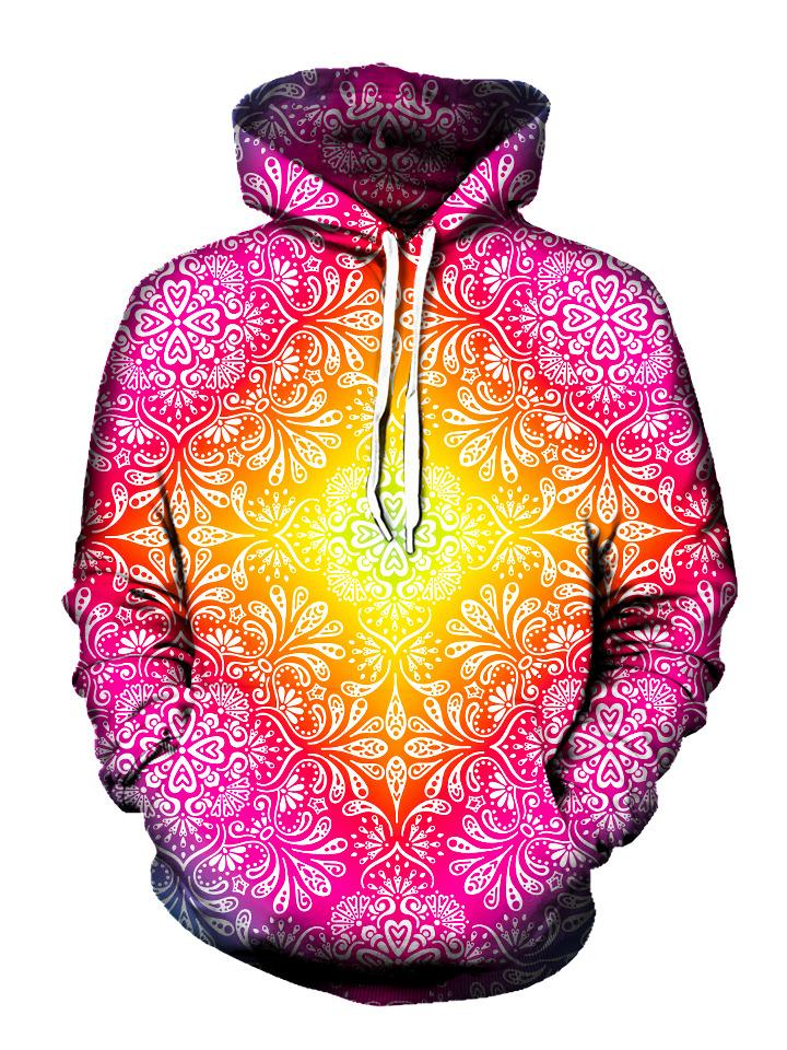Colorful pink and yellow flower pullover hoodie front view