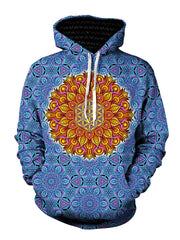 Psychedelic Orange Flower Pullover Hoodie Front View