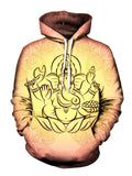 Ganesha on Peach Colored Pullover Hoodie With White Strings Front View