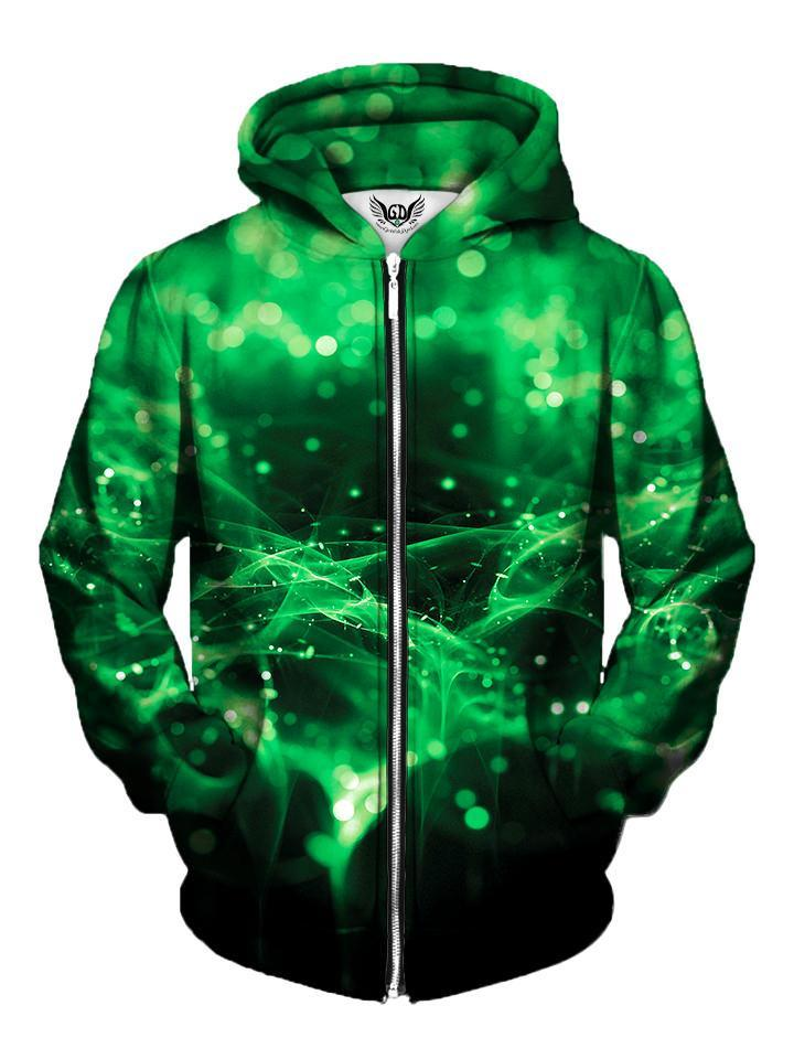 Green Lights Zip Up Hoodie Front