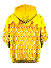 Yellow honeycomb all over print pullover hoodie back view