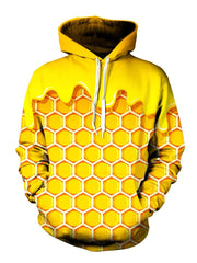 Yellow honeycomb all over print pullover hoodie front view