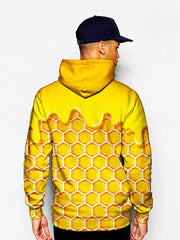 Model in yellow honeycomb all over print pullover hoodie back view